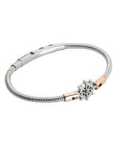 Steel tubular bracelet with rudder