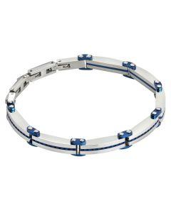 Blue and steel PVD link bracelet