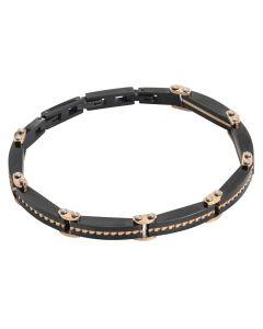 Black and pink pvd link bracelet