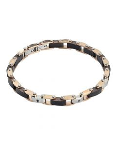 Two-tone steel link bracelet, black wood and zircons