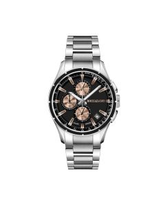 Chronograph in steel with black dial and counters rosati