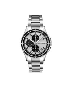 Cronografo in acciaio con quadrante silver e contatori neri