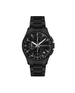 Cronografo in acciaio black con quadrante e contatori neri