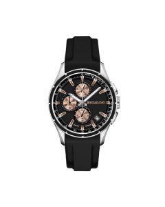 Cronografo in silicone nero con quadrante nero e ardiglione in acciaio