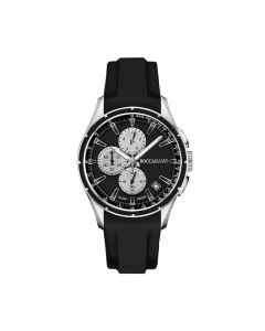 Chronograph in black silicone with black dial, counters silver and tongue in steel