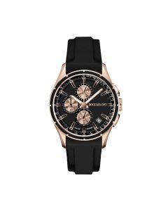 Cronografo in silicone black con quadrante black e contatori rosati ed ardiglione in acciaio