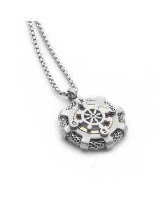 Collana in acciaio con diamante incastonato