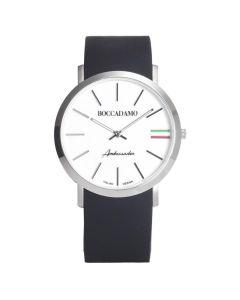 Orologio con cinturino in silicone, quadrante bianco e tricolore