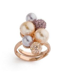 Silver ring with white pearls, champagne color and rhinestones