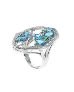 Ring with profile of zircons and colored crystals