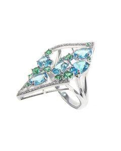 Ring with diamond tread and zircons