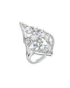 Ring with diamond tread and white zircons