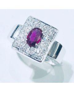 anello con diamanti e rubino ct 0.46