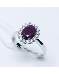 Anello con Diamanti e Rubino ct 1.38