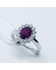 Anello con Diamanti e Rubino ct 1.43