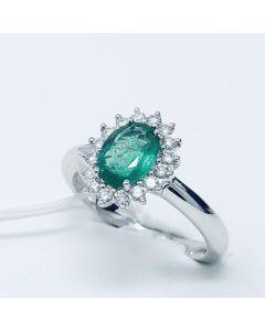 Anello con Diamanti e Smeraldo ct 1.10