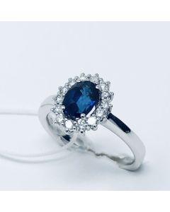 Anello con Diamanti e Zaffiro ct 1.32