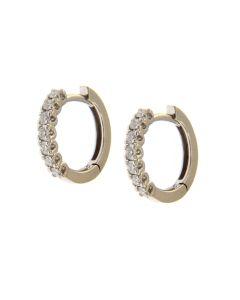 Orecchini Cerchi Oro Bianco e Diamanti ct 0,41 G
