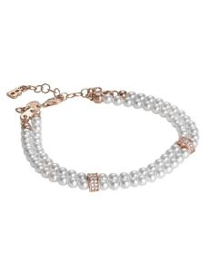 Bracelet two wires of Swarovski beads with passing in silver rosato and zircons