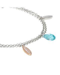 Bracciale in argento con navette pendenti  di zirconi e Swarovski