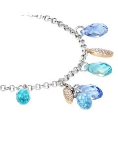 Bracelet bicolor with Swarovski from shades of blue and zircons