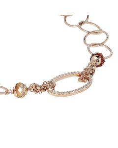 Bracciale rollò in argento placcato oro rosa con zirconi e Swarovski