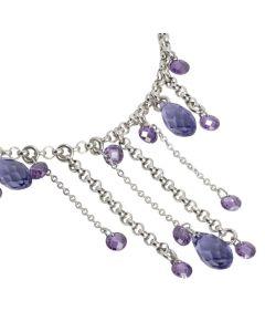 Bracciale con frange di cristalli Swarovski e zirconi dalle tonalità del viola