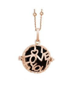 Rosé necklace with opening casket written I love you and wadding