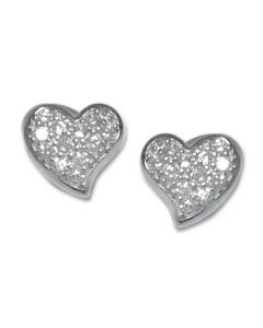 Earrings in the lobe at heart shape with zircons