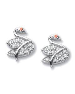 Earrings in the lobe in the shape of swan with zircons