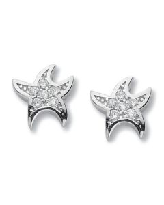 Earrings in the form of Stella marina with zircons