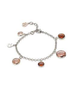 Bracciale bicolor con cristalli peach e brown