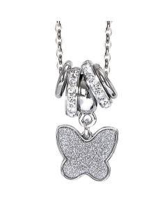 Collana con pendente glitterato a farfalla