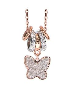 Plated necklace pink gold and pendant glitterato butterfly