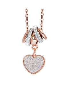 Plated necklace pink gold and pendant glitterato to heart