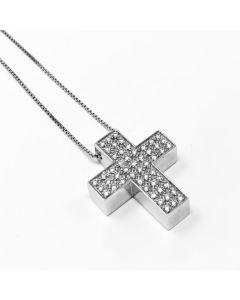 Girocollo Croce Media con Diamanti ct 0.55