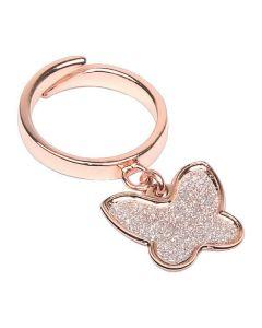 Anello regolabile placcato oro rosa con farfalla glitterata