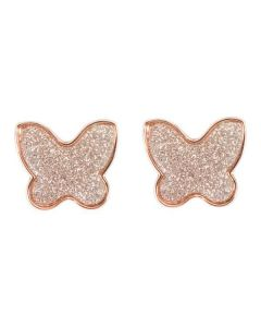 Orecchini a lobo placcati oro rosa con farfalla