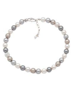 Collana in argento e perle Swarovski colorate