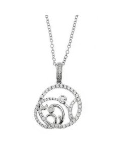 Necklace in silver with perforated pendant and zircons