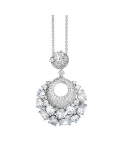 Necklace Pendant with a corolla and white zircons