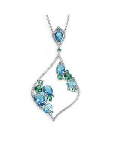 Necklace Pendant with rhomboidal shape and zircons