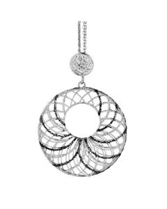 Necklace in silver with circular pendant