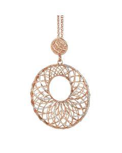 Necklace in silver with circular pendant bicolor