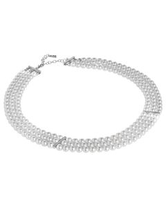 Multi-Strand necklace of Swarovski beads with inserts in silver and zircons