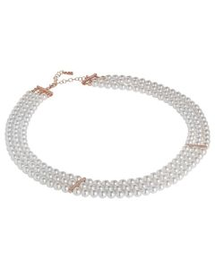 Multi-Strand necklace of Swarovski beads with inserts in silver rosato and zircons