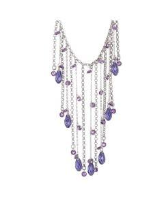 Collana con pendente a frange di cristalli Swarovski e zirconi dalle tonalità viola
