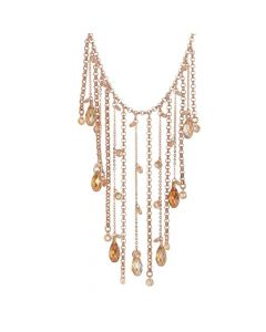 Necklace with a pendant in the fringes of Swarovski crystals copper and zircons champagne