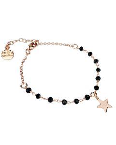 Bracciale rosato con cristalli neri e stella