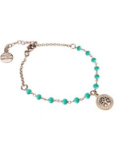 Rosé bracelet with green crystals and tree of life